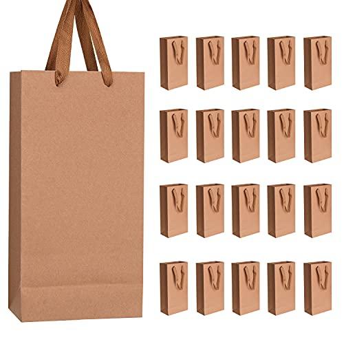 Udefineit Bolsas de regalo de vino de papel kraft natural con asas, paquete de 20 bolsas reciclables de 17,8 x 9,4 x 34,3 cm, color marrón para botella de vino espumoso de champán