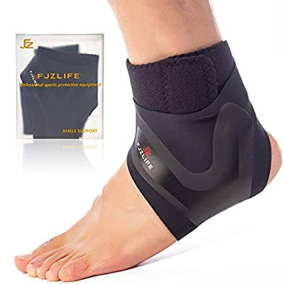 FJZLIFE Ankle Compression Support(1 Pair), Adjustable Lightweight Ankle Brace for Injury Recovery, Joint Pain, Achilles Tendon, Plantar Fasciitis, Foot & Ankle Swelling and More.