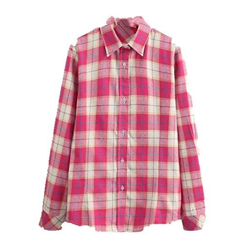 Camisa de cuadros femenina de estilo universitario de las mujeres blusas de manga larga camisa más tamaño algodón oficina Tops