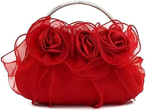 Women's Evening Handbags Flower Lace Evening Bag Lady Handbag, Bridal Bag, Wedding Banquet Bag (Color : Red)