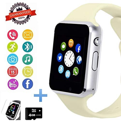 Hocent Smart Watch Phone, Smartwatch with Touch Screen Camera Pedometer SD Card Call Text SNS Sync SIM Card Slot Music Player Compatible with Android and iPhone (Partial Functions) for Men Women Teens