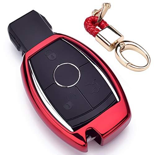Rot Car Keyless Entry Key Cover Fall für Mercedes Benz C E S M Class CLS CLK CLA SLK AMG W204, Weiches TPU Schutzhülle mit Schlüssel Kette