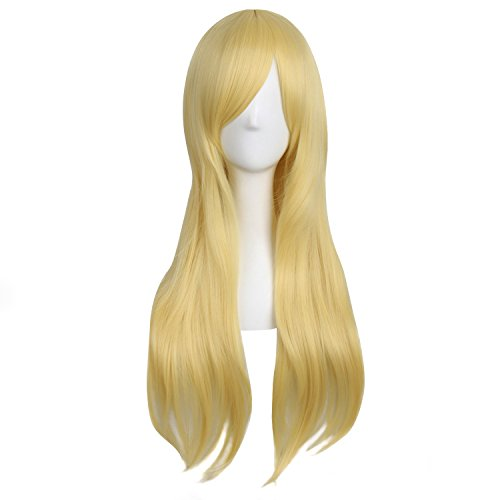 """MapofBeauty 28""""/70cm Women Side Bangs Long Curly Hair Cosplay Wig(Gold)"""