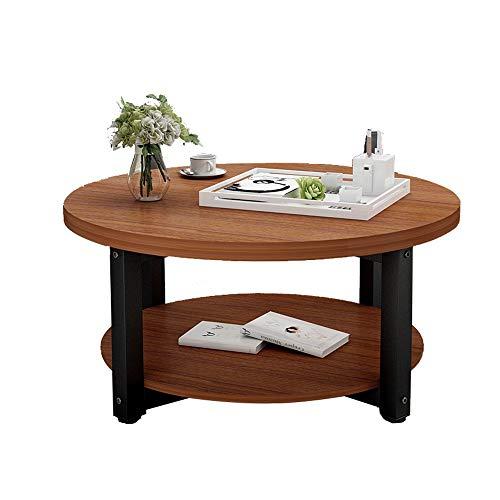 Xiaolin Table Basse en Bois à 2 Niveaux Petit Appartement Table à Manger Table de Bureau Salon Table d'appoint Petite Table Ronde Deux Tailles (Couleur : F, Taille : 60 * 45cm)