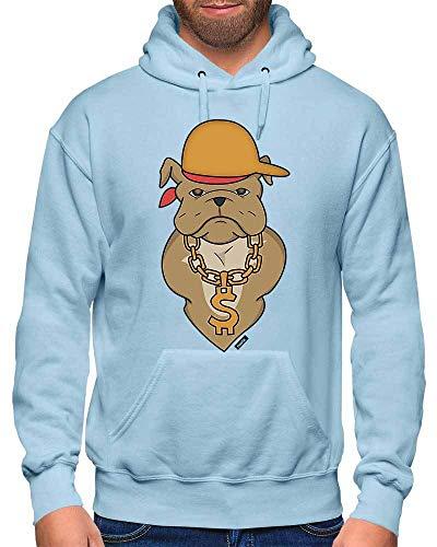 HARIZ Herren Hoodie Bulldodge Rapper Hund Haustier Inkl. Geschenk Karte Himmel Blau M