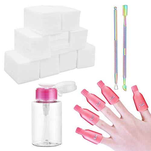 Kit de removedor de esmalte de uñas en gel, 600 p / toallitas de algodón, 10 puntas de pinzas de uñas,2 pcs cortador de empuje de cutícula con dispensador de bomba de empuje