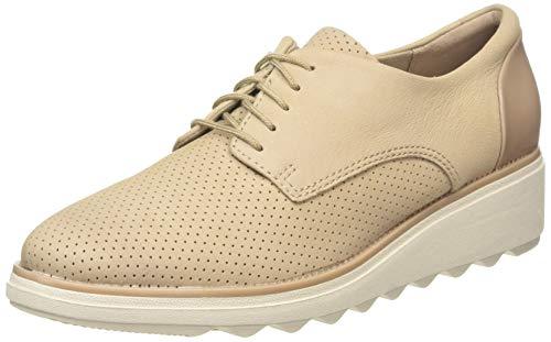 Clarks Sharon Crystal, Zapatos de Cordones Derby Mujer, Beige (Sand Sand), 41 EU