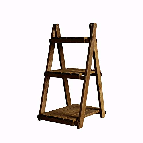YongFeng Floor Rack, Wooden Retro Fashion Stepped Foldable Floor Rack, Shelving Unit (Color : Wood Color)