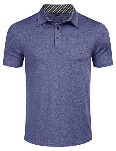 Kusonn Polo Homme à Manches Courtes de Coton Polyester Bleu Marine M