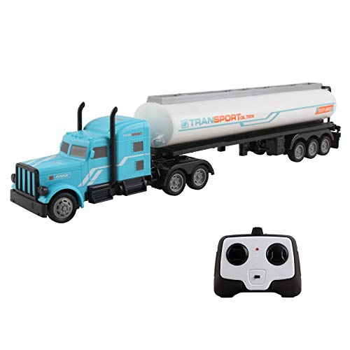 Vokodo RC Semi Truck And Trailer 18 Inch 2.4Ghz Fast Speed 1:16 Scale Electric Fuel Oil Hauler Rechargeable Battery Included Remote Control Kids Big Rig Toy Tanker Car Great Gift For Children Boy Girl