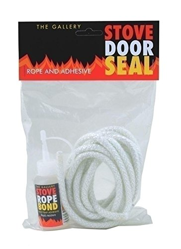 10MM X 2.5 Meter WHITE STOVE DOOR GLASS SEAL ROPE KIT WITH 50ml GLUE / ADHESIVE FIRE COAL WOODBURNER