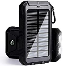 Solar Charger 30,000mAh, Solarprous Portable Dual USB Solar Battery Charger External Battery Pack Phone Charger Power Bank with Flashlight for Smartphones Tablet Camera (Black)