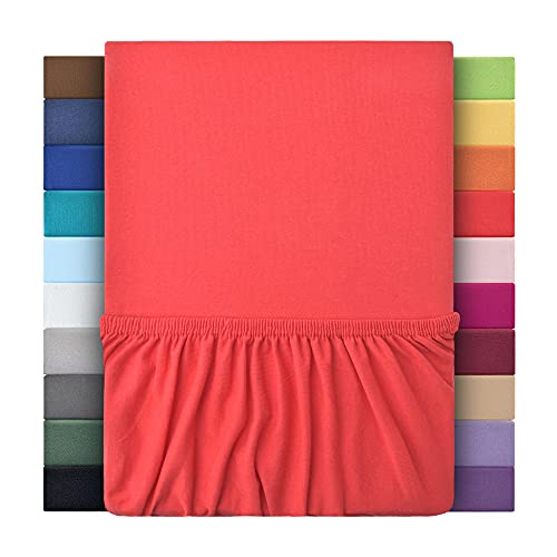 leevitex® Jersey Spannbettlaken, Spannbetttuch 100% Baumwolle in vielen Größen und Farben MARKENQUALITÄT ÖKOTEX Standard 100 | 120x200 cm - Rot