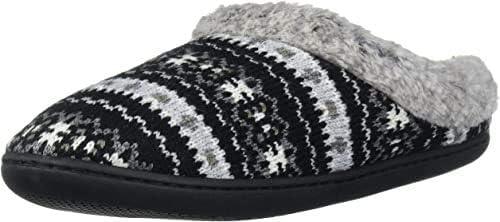 Dearfoams Women's Knit Clog Memory Foam Slipper;Black/Grey