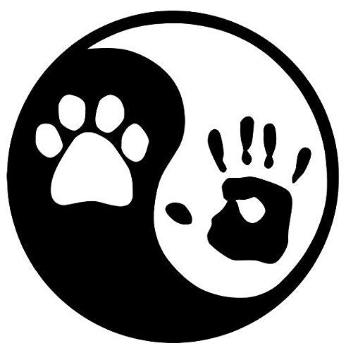 Ying Yang Paw Hand Prints - Sticker Graphic - Auto, Wall, Laptop, Cell, Truck Sticker for Windows, Cars, Trucks