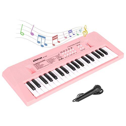 sanlinkee Keyboard Kinder, 37 Tasten Kinder Klavier Elektronische Klaviertastatur Lernspielzeug Elektrische Tastatur Wiederaufladbare tragbare Musik Keyboard mit Karaoke Mikrofon für Mädchen, Rosa