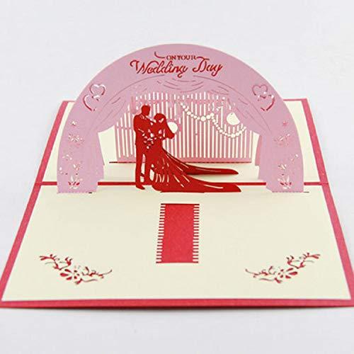 BC Worldwide Ltd handgemachte 3D-Pop-up Hochzeitskarte, großer Tag, rosa romantische Bräutigam Braut Liebe Herz Bester Freund Papercraft Origami Kirigami Zeremonie Geschenk