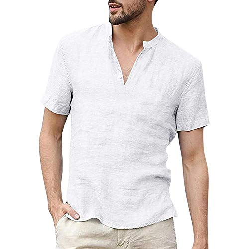 VJGOAL Moda Casual de Verano para Hombre Lino de Color sólido Retro Tops de Manga Corta, Suelta Camiseta de Hombre