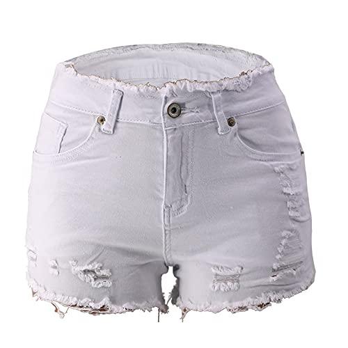 Pantalones cortos de mujer tendencia rasgado Streetwear sexy casual todo partido al aire libre, Blanco, XL