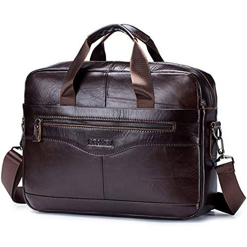 SPAHER 15.6 Zoll Herren Laptoptasche Leder Aktentasche Umhaengetasche Handtasche für Männer Herren Business Tasche Notebook Tasche Herren Bürotasche