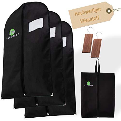BAEGGERY Anzug Schutzhüllen / 3 Kleidersäcke extra mottensicher / inklusive Schuhbeutel und Mottenschutz / Anzugtaschen mit Reißverschluss, schwarz, kurz