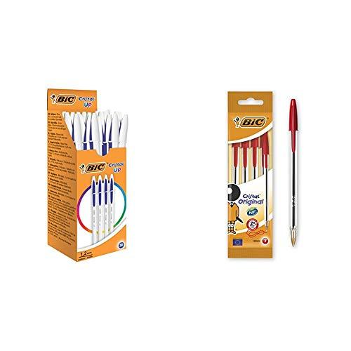 BIC Cristal Up bolígrafos punta media (1,2 mm) – Azul, Caja de 20 unidades + Original - Bolígrafo de punta redonda, color rojo, pack de 4 unidades