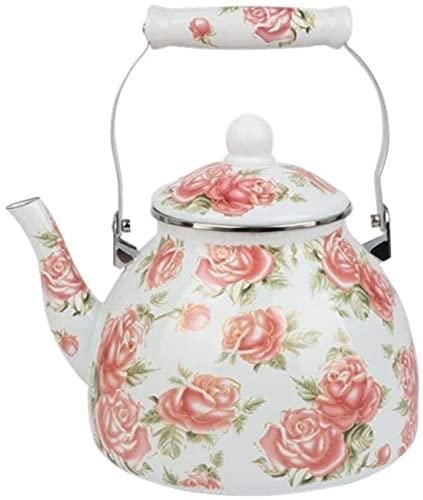 Hervidor de esmalte de esmalte superior de la estufa de esmalte esmalte olla tetera (rosa dorada) 4L esmalte olla