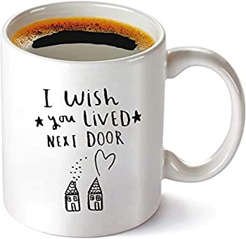 Best Friend Friendship Mug Gifts - Best Friend Birthday Gifts for Women Female Soul Sister Besties BFF Going Away - Funny I Wish You Lived Next Door Coffee Mug 11oz