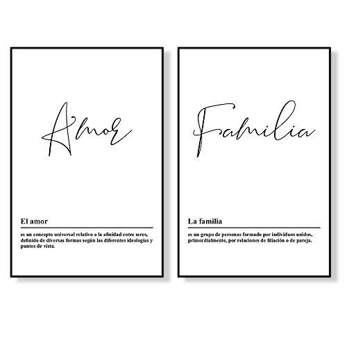 Láminas Decorativas de Amor y Familia, 2 Piezas de 50 x 70 cm, Posters de Estilo Nórdico en Blanco y Negro sin Marco, LD-P2-01
