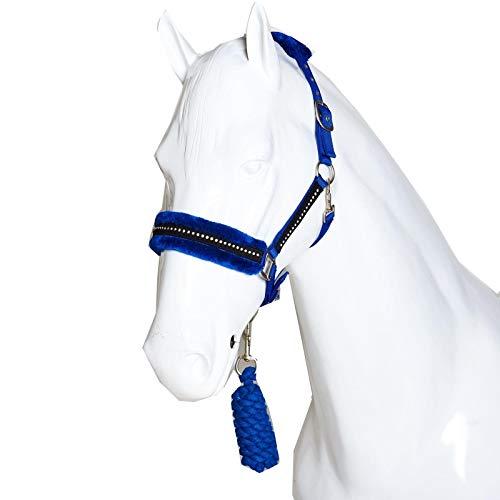 Best On Horse Diamond Halfter für Pferde, Kunstfleece, verstellbar, Reiter, blau, Kaltblut / Warmblut extragroß