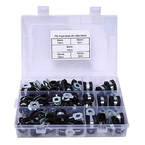 Leyeet 50pcs R-Type goma acolchada abrazadera de manguera cable eléctrico clip 6-16mm