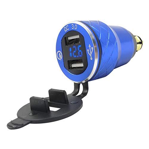 YYOMXXOM Mini QC3.0 Adaptador de corriente DIN USB de carga rápida DIN para BMW R1200GS R1200RT Triumph Tiger Ducati Hella Cargador de motocicleta (Nombre de color: 110 azul)