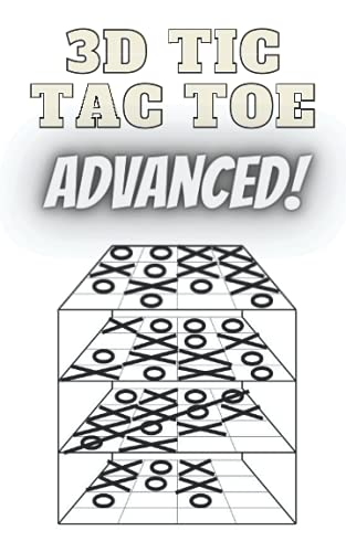 """3D Tic Tac Toe - Noughts And Crosses Game - Advanced Version Of Tic Tac Toe game - - Qubic Game - Paper And Pen Book Game - Classic Games - Activity Book - Compact Size (5"""" x 8"""") (Notebooks And Journals With Beautiful Artwork By Artist Rhys Horler)"""