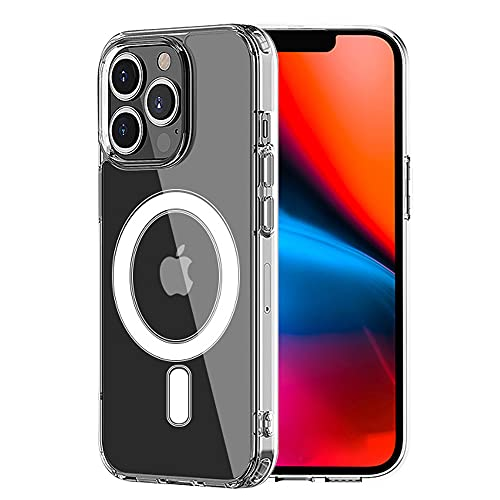 HiChili Clear Hülle with Mag-Safe for iPhone 13 Pro Hülle, Phone Hülle Built in Magnet Circle Slim Soft TPU Bumper PC Back Cover for iPhone 13Pro [Shockproof][Anti-Yellowing] Shell, Transparent