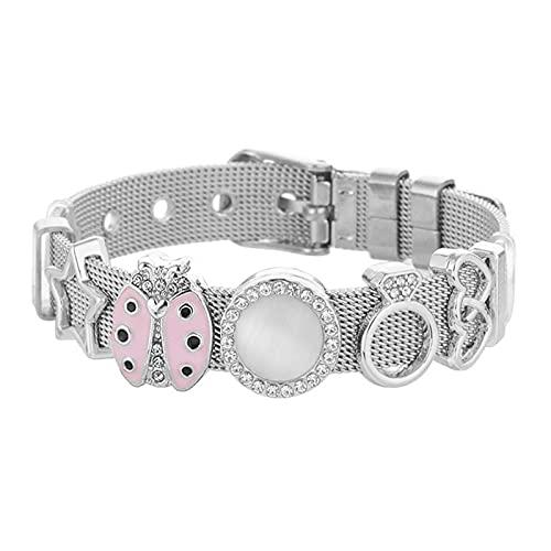 JINKEBIN Pulsera Boosbiy Plateado Plateado Acero Inoxidable Malla Pulsera Cristal Star Crown Charm Brand Bracelet Compatible with Woman Fashion Jewelry Regalo (Metal Color : C23)