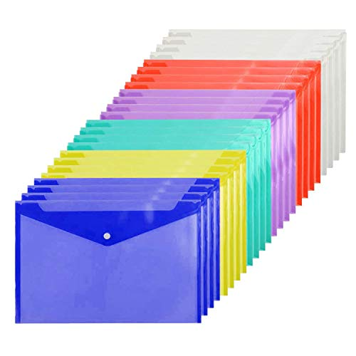 Cooldool 30 Pcs Poly Envelope Folder with Snap Button Closure, Premium Quality Plastic Envelopes,Waterproof Transparent Project Envelope Folder, A4 Letter Size in 6 Assorted Colors