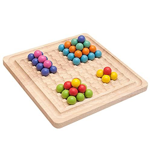 Montessori - Juego de cuentas de madera con clip, juego educativo de madera – Juego de cuentas de madera con clip – Cuentas de clip arco iris – Juego de memoria – Juego de mesa – 21 × 21 × 3,5 cm