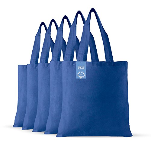 Simply Green Solutions Blank 100% Cotton Fabric Reusable Cloth Bags - Set of 5 - Tote Bags for School, Tote Bags for Grocery Shopping, Fun Promotional Items or Eco-Friendly Reusable Bags