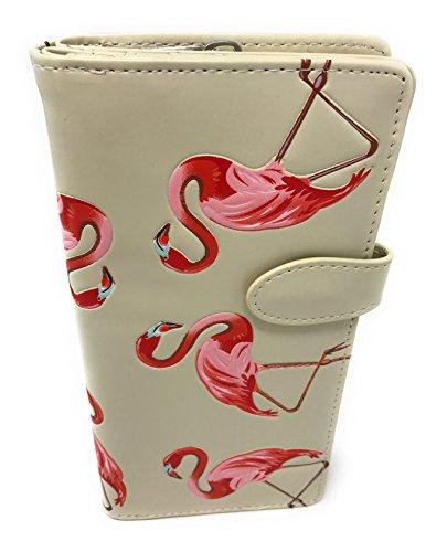 Shagwear - Exklusive große Reißverschluss-Geldbörsen für Damen., Flamingos (Beige) - NA