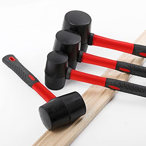 Martillo de goma de mazo suave, martillo de mazo de goma con mango de fibra de vidrio para tareas de golpe suave sin daños, color negro con rojo
