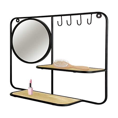 Dekoratives Wandregal Metall/Holz mit Spiegel und 4 Schlüsselhaken Schlüsselbrett Schlüsselkasten 40x50cm