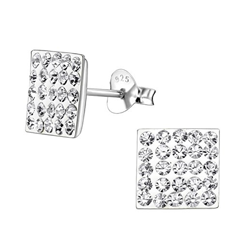 8MM Bling MENS Square Micro Pave Austrian Crystal Sterling Silver Stud Earrings – White/Clear - Beckham Style