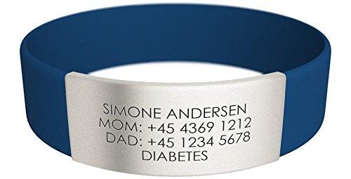 Djuva ID Armband (Model Beat Rush) - Personalisierte ID für Kinder, Identifikationsarmband, ID Armband und Sport ID (XS (13cm), Blau)