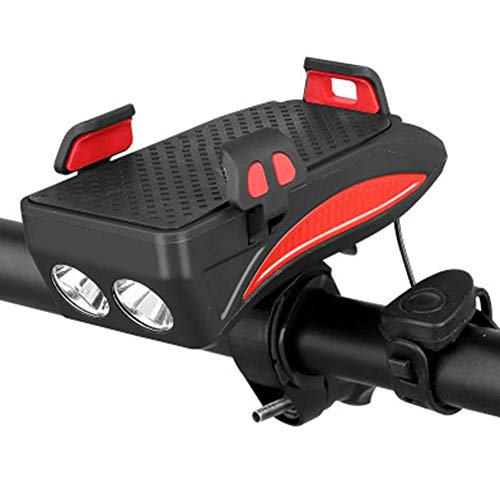 TGB Vorderlicht für Fahrrad, 4 in 1, mit Powerbank-Akku, 4000 mAh, 6 – 12 h, 3 Modi, LED-Licht, 400 Lumen, 130 dB, 5 verstellbare Sounds, einfache Montage, Lenker für Smartphones (rot)...