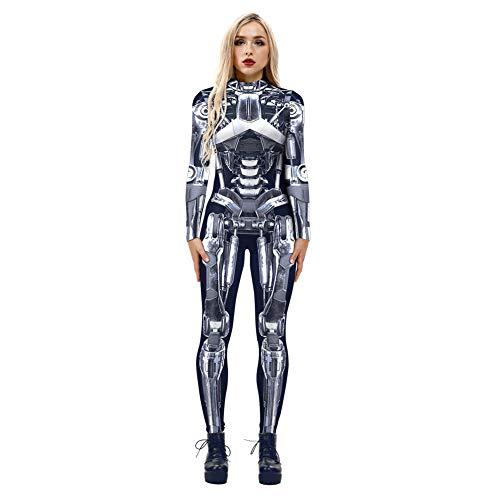 LKY STAR Damen Halloween 3D Skelett Catsuit Outfits Cosplay Kostüm Stretch Dünne Party Spielanzüge Overall Slim Fit