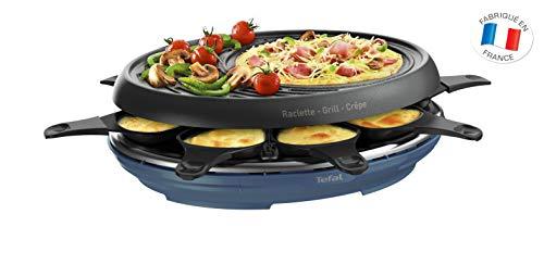 Tefal Raclette Colormania 3-in-1 Raclette für Grill und Crêpe, Antihaftbeschichtung, Easy Plus, 8 Schälchen, spülmaschinenfest, 1050 W, Stahlblau RE310401