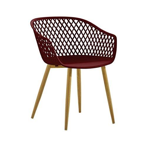 Zons 2 Tango-Stühle, Design Bordeauxrot und Füße aus Metall, Holz, X-Large