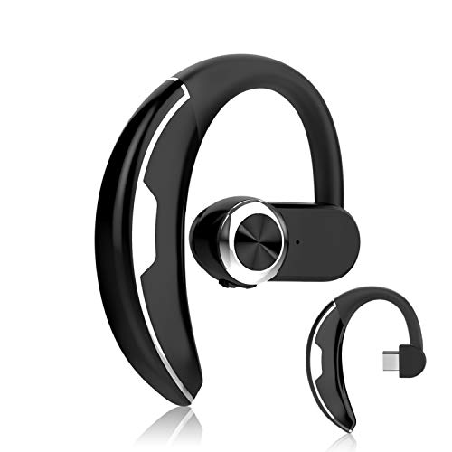 KINGWorld Bluetooth Headset with 36-Hr Playing Time V4.2 Car Driving Bluetooth Earpiece Wireless Hands Free Headphones with Mic Cell Phone Noise Cancelling in-Ear Compatible with iPhone (Silver)