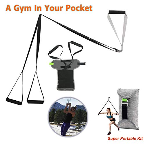 Wicofen Sports Pocket Monkii Fitness Training Kit - Kit Regolabile per Allenamento in Sospensione Cinghie per Allenamento Fitness da Palestra Professionale per Palestra Domestica (Semplice e Leggero)