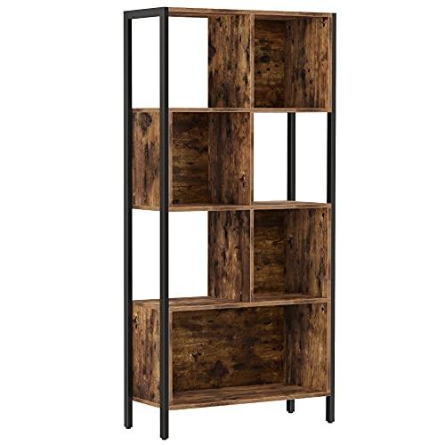 VASAGLE Bücherregal, Bücherschrank, mit Stahlgestell, für Souvenirs, Deko, Bilderrahmen, Büro, Wohnzimmer, Industrie-Stil, vintagebraun-schwarz LBC027B01